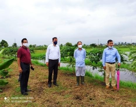 Dr. S. Basanta Singh, Director of Research, CAU, Imphal visiting Central Farm, CAU