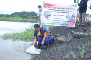 Release of fish fingerlings on National Fish farmers day at central farm - 10 july 2021